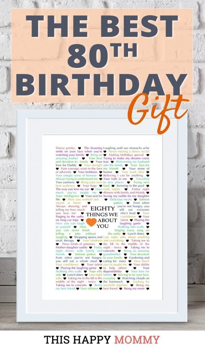 Looking for the perfect gift? Celebrate turning 80 years old with80 Things We {Love} About You. Fill it with all the reasons you love a special person. It's the best gift for a 80th birthday. #80birthday #gift #diy #birthdaygift #birthday | thishappymommy.com