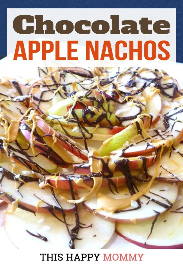 Thinly sliced apples covered with chocolate, butterscotch, and coconut flakes. Chocolate Apple Nachos are a wonderful way to enjoy fresh apples. With only four ingredients, this simple, kid-friendly treat is perfect anytime.  Clean Eating Desserts | Apple Dessert Recipes | Healthy Chocolate Dessert Recipes | Easy to Make Sweet Treat Desserts | Quick and Easy No Bake Desserts | #dessert #chocolate #apple #vegetarian #recipe | thishappymommy.com