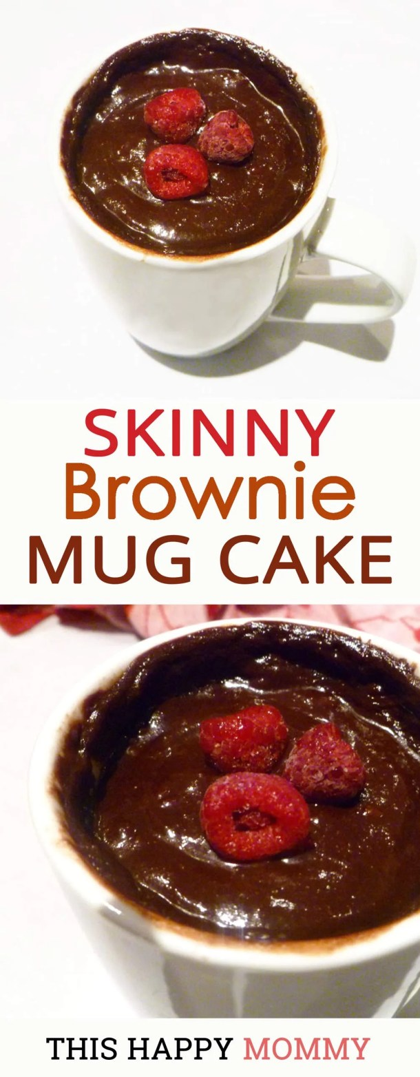 Hello, chocolate! Skinny Brownie Mug Cake is a decadently chocolatey single-serving cake topped with avocado chocolate frosting. Yum!| Healthy Homemade Brownie | | Simple and Light Dessert | Healthy Mug Cake Recipes | Easy Cake Recipes | #dessert #chocolate #mugcake #brownie | thishappymommy.com