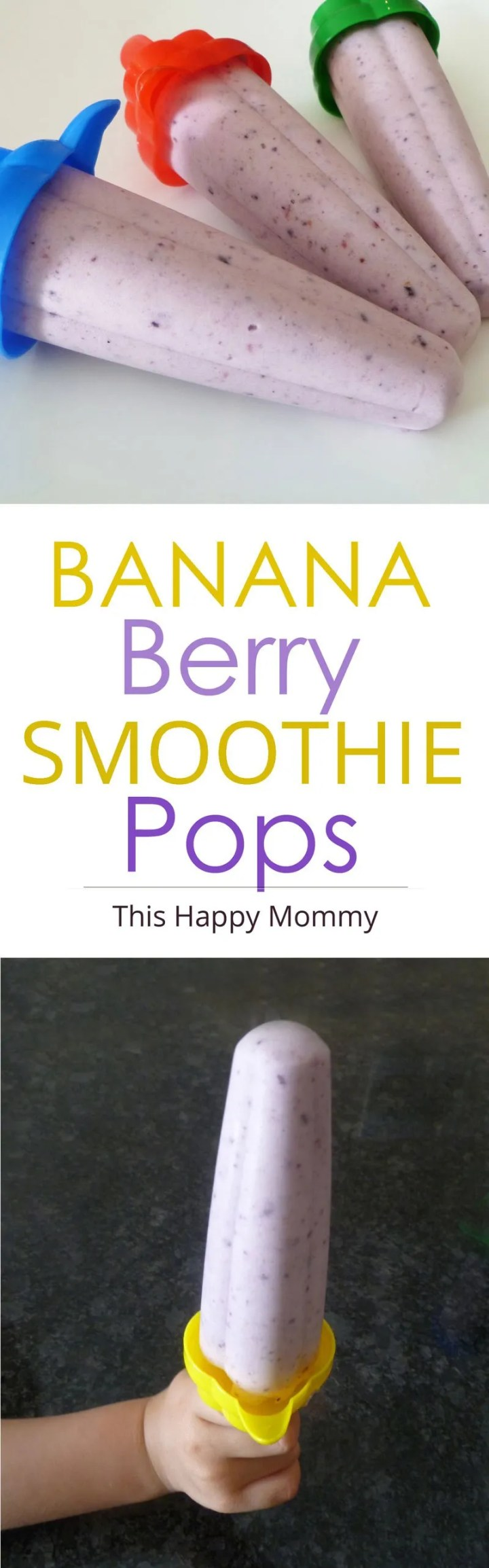 Banana Berry Smoothie Pops -- Stay cool all summer long with this four-ingredient, smoothie style popsicle. | Easy Snack Ideas | Kid Approved Snacks | Quick and Easy Greek Yogurt Smoothie | #smoothie #recipe #summer #food | thishappymommy.com