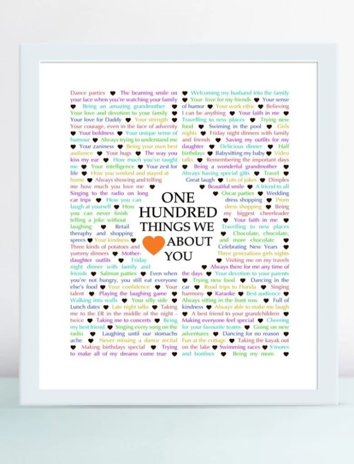 100 Things We Love About You -- Wow, what a milestone! Reaching the big 100 is definitely something to celebrate. One thing that can make the day even more special is receiving a personalized, heartfelt gift. | thishappymommy.com
