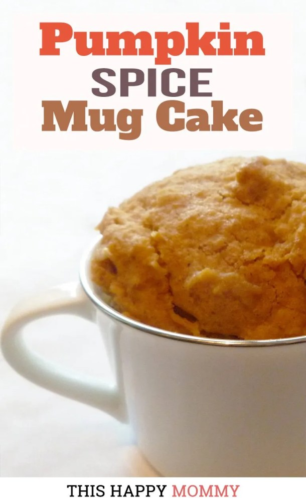 Take a bite out of fall with this single-serving pumpkin cake. Filled with cinnamon, allspice, and nutmeg, Pumpkin Spice Mug Cake is an easy 5-minute pumpkin cake that is oh so tasty. | This Happy Mommy