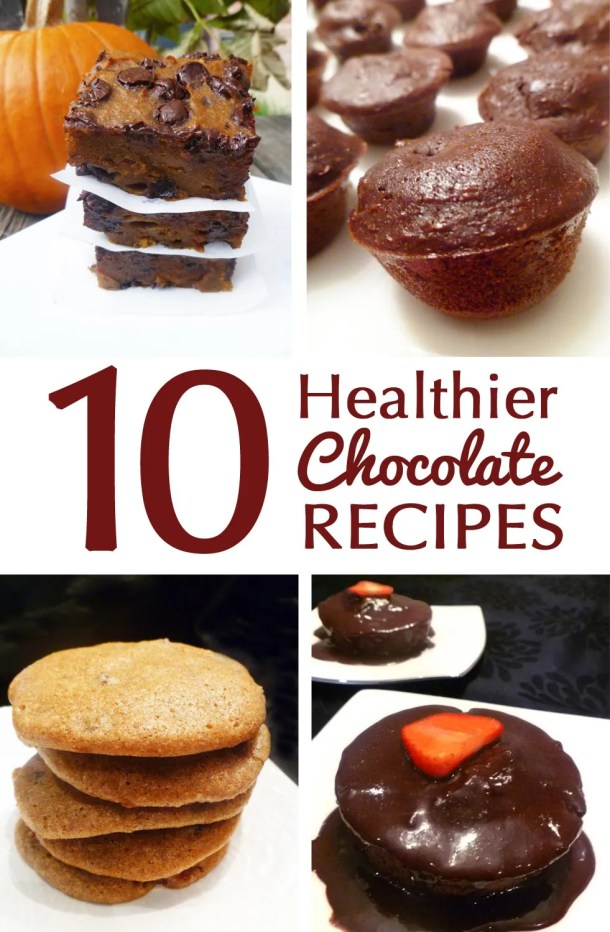 10 Healthier Chocolate Recipes -- Enjoy some tasty chocolate treats that are healthier without being bland or diet tasting. These healthier chocolate recipes are sure to be a hit! | thishappymommy.com