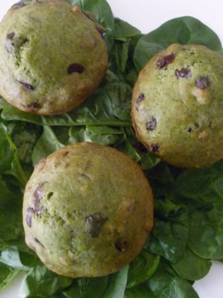 spinach chocolate chip muffins   Healthier Chocolate Recipes