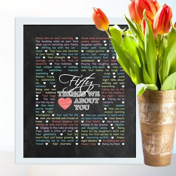 50 Things We {Love} About You - Chalkboard Art -- If you love heartfelt, memorable gifts, this is the one for you! Things We {Love} About You - Chalkboard Art is perfect for birthdays, anniversaries, or special occasions. Add your own words to make a truly special gift.  #50birthdaygift | thishappymommy.com