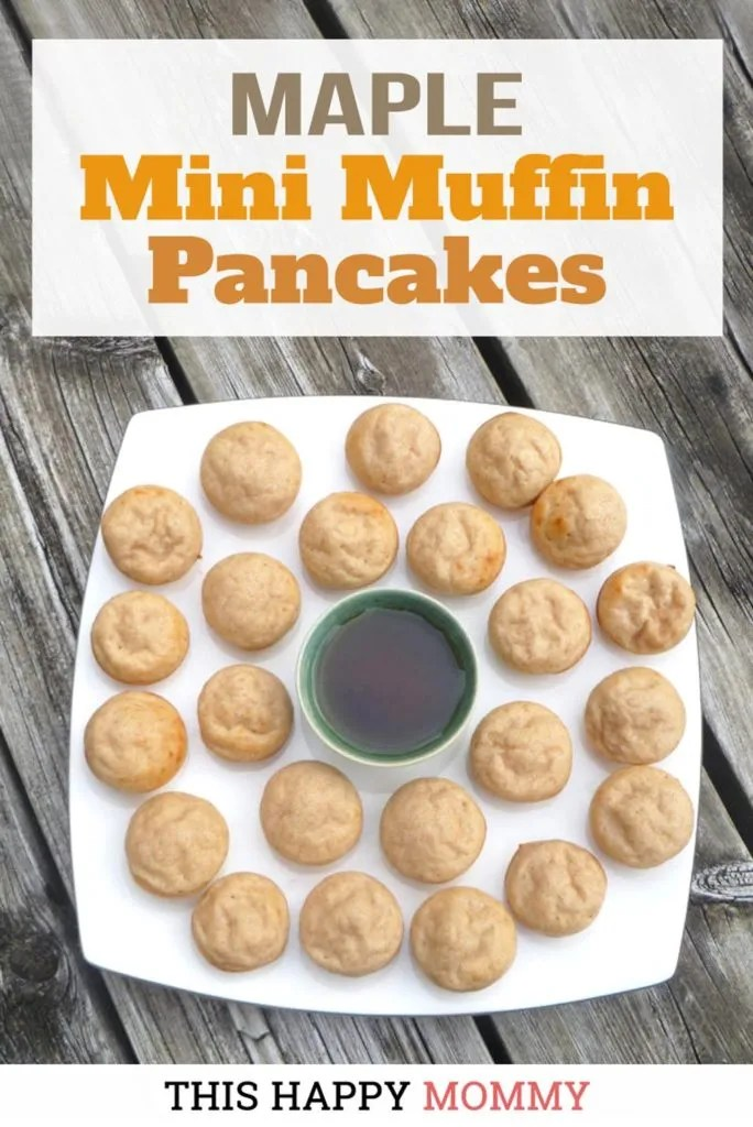 If you love breakfast food, these are the mini muffins for you. Mini Muffin Maple Pancakes have all the flavours of maple, buttermilk pancakes in these sweet, mini bites. | easy homemade pancakes | easy brunch ideas for a crowd | clean eating breakfast on the go | healthy breakfast muffins | healthy clean eating pancakes | #breakfast #recipe #easybreakfast #healthybreakfast #pancakes | thishappymommy.com