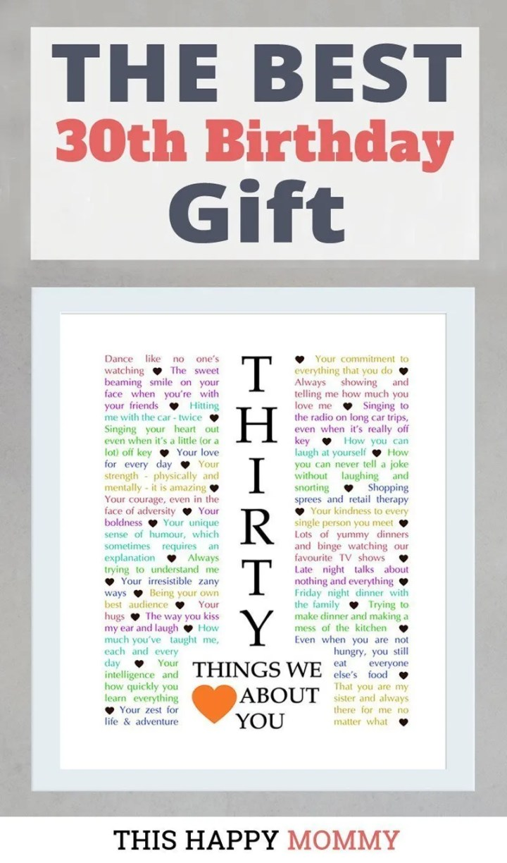 30 Things We {Love} About You -- Celebrate turning 30 years old with a personalized, heartfelt gift.30 Things We {Love} About You can be the perfect gift for a milestone birthday or anniversary. #30birthday #30anniversary #gift #diy   thishappymommy.com