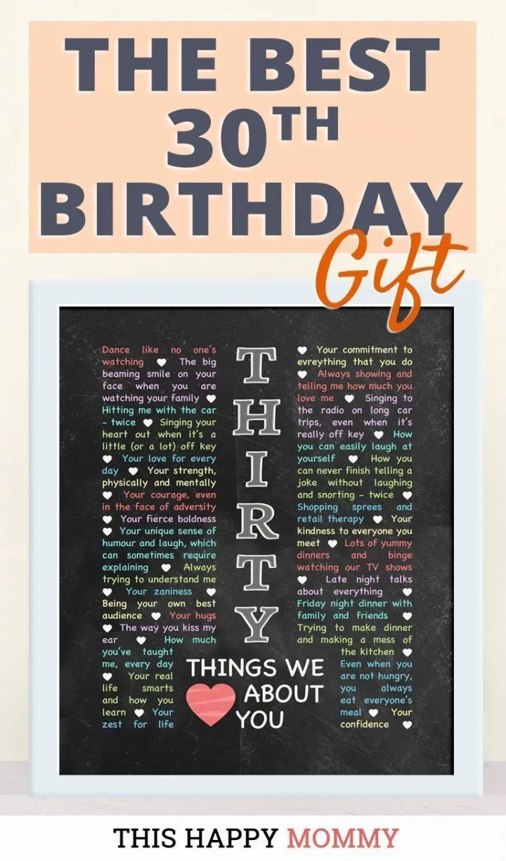 30 Things We Love About You -- My sister loves this gift!! It is the best 30th birthday gift. | 30th birthday gift for boyfriend | 30th birthday gift for girlfriend | birthday party gift for adults | DIY 30th birthday gift | birthday gift chalkboard art |#30birthday#birthdaygift#gifts #diy#bestgift | thishappymommy.com