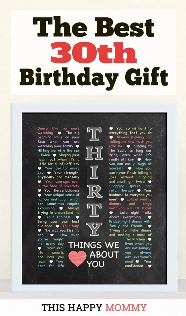 30 Things We Love About You -- My friend loves this gift!! It is the best 30th birthday gift. | 30th birthday gift for boyfriend | 30th birthday gift for girlfriend | birthday party gift for adults | DIY 30th birthday gift | birthday gift chalkboard art | #30birthday #birthdaygift #gifts #diy #bestgift | thishappymommy.com