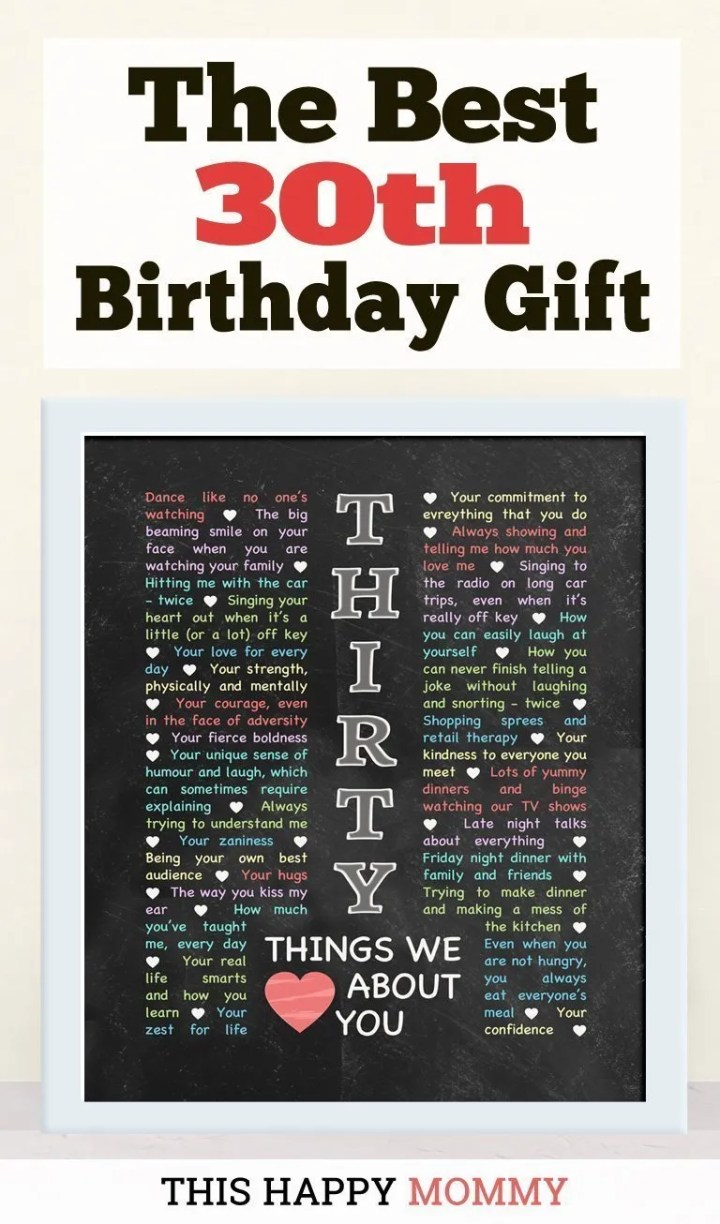 30 Things We Love About You -- My friend loves this gift!! It is the best 30th birthday gift. | 30th birthday gift for boyfriend | 30th birthday gift for girlfriend | birthday party gift for adults | DIY 30th birthday gift | birthday gift chalkboard art |#30birthday#birthdaygift#gifts #diy#bestgift | thishappymommy.com