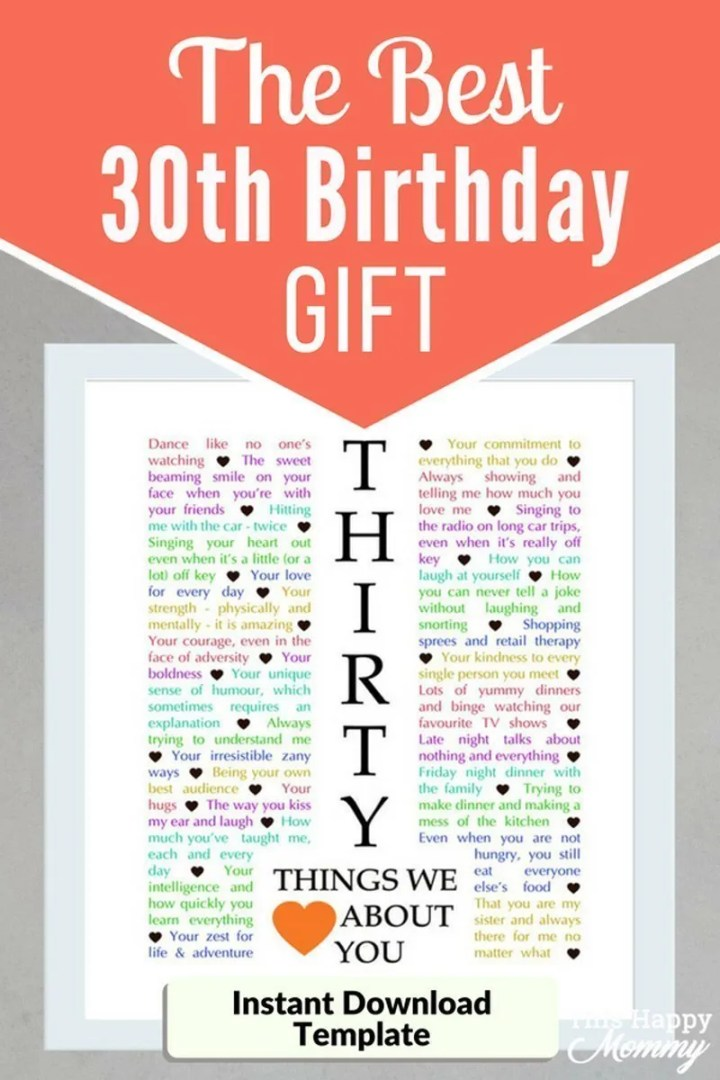 30 Things We {Love} About You -- Celebrate turning 30 years old with a personalized, heartfelt gift.30 Things We {Love} About You can be the perfect gift for a milestone birthday or anniversary. #diy #gifts #30birthday #30anniversary   thishappymommy.com