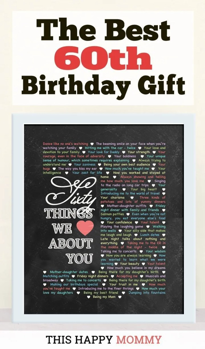60 Things We Love About You -- My mom loves this gift!! It is the best 60th birthday gift. | 60th birthday gift for mom | 60th birthday gift for dad | birthday party gift for adults | DIY 60th birthday gift | birthday gift chalkboard art |#60birthday#birthdaygift#gifts #diy#bestgift | thishappymommy.com