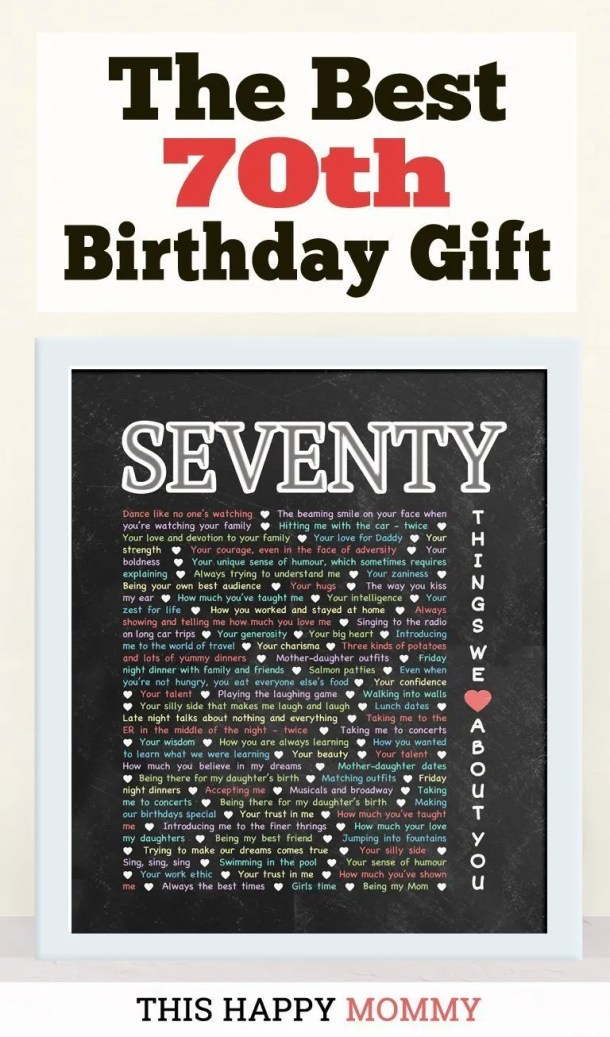 70 Things We Love About You -- My mom loves this gift!! It is the best 70th birthday gift. | 70th birthday gift for mom | 70th birthday gift for dad | birthday party gift for adults | DIY 70th birthday gift | birthday gift chalkboard art | #70birthday #birthdaygift #gifts #diy #bestgift | thishappymommy.com