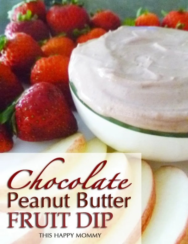 Chocolate Peanut Butter Fruit Dip -- You need to try this dip! Decadent, velvety, and bursting with a chocolate-peanut butter flavour. Enjoy it with fruit and you'll be in cocoa heaven! #recipe #snack #lowfat #chocolaterecipe #recipe | thishappymommy.com