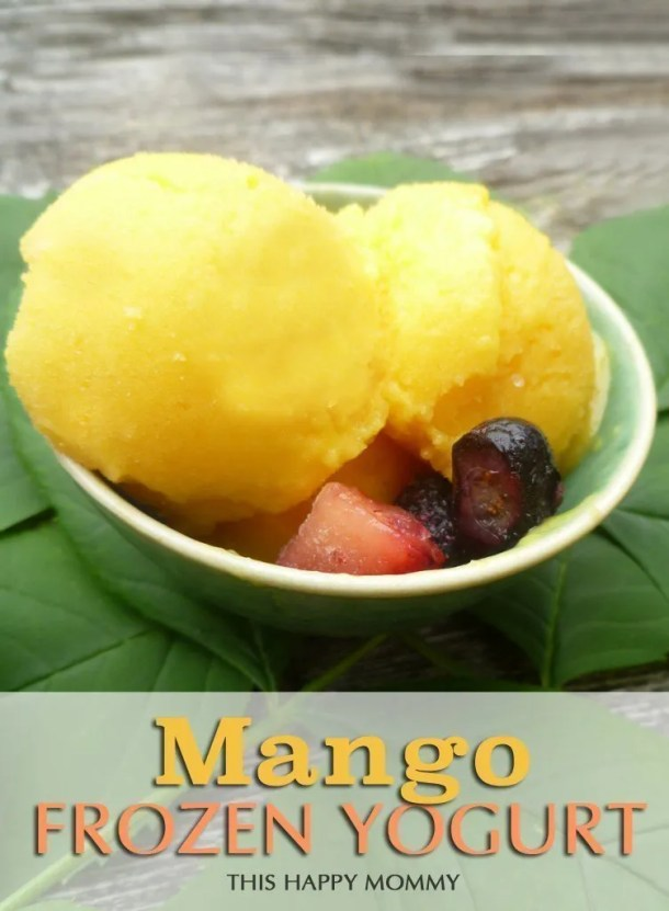 Mango Frozen Yogurt -- Cool down this summer with a sweet and healthy froyo treat. You don't need an ice cream making, you can easily make this one at one. #recipe #frozenyogurt #froyo #lowfat #easyrecipe | thishappymommy.com