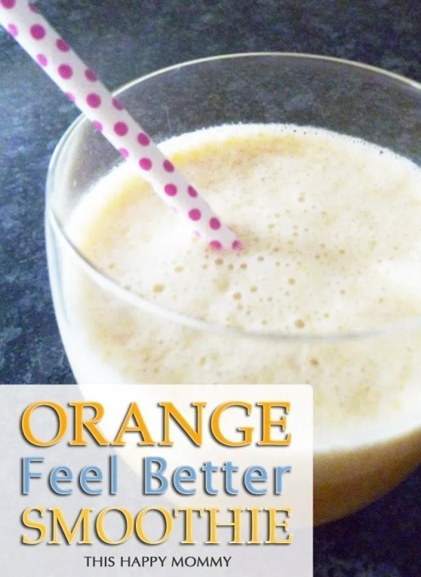 Orange Feel Better Smoothie -- This smoothie is my cold-fighting secret weapon!! When I feel a cold coming on, this is my goto drink. It's packed with orange juice, banana, honey, and cinnamon. Each of these ingredients can give you the boost you need to feel better soon. #recipe #smoothie #drink #lowfat | thishappymommy.com