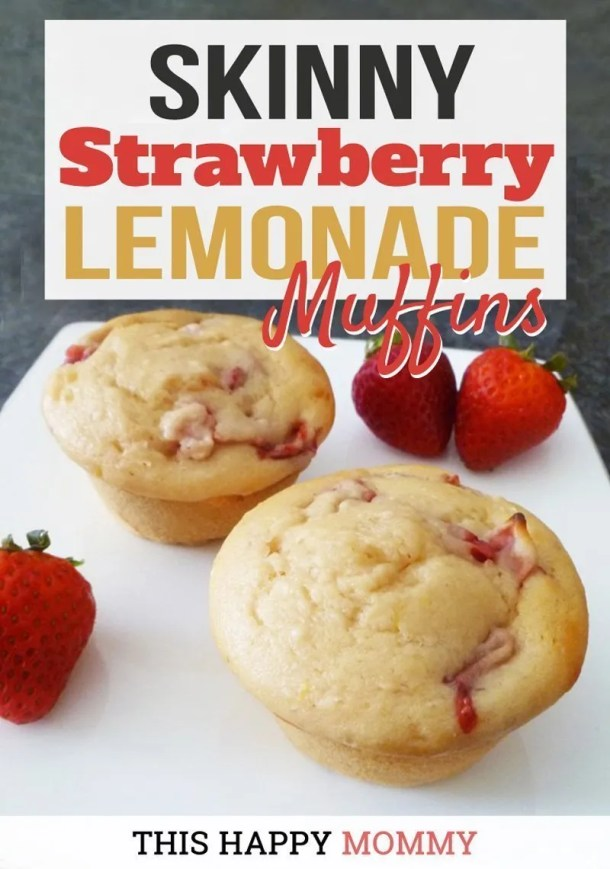 Skinny Strawberry Lemonade Muffins -- If you love summertime food, Skinny Strawberry Lemonade Muffins are the perfect snack for you. Each muffin is bursting with strawberry lemon flavour. You can almost drink it up! #muffins | healthy make ahead breakfast ideas for families |  | easy brunch ideas for a crowd | clean eating breakfast on the go | healthy breakfast muffins | quick and easy muffin recipe | simple strawberry and lemon muffin recipe | #healthyrecipes #cleaneating #easyrecipes #strawberry #lemonade | thishappymomm.com