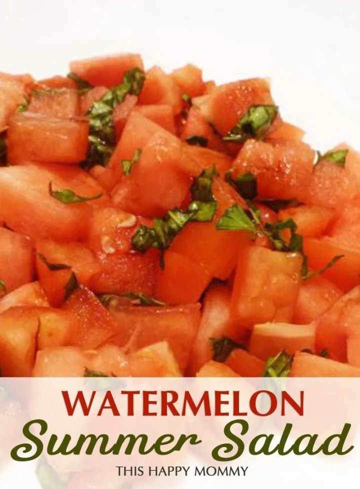 Watermelon Summer Salad -- Enjoy all the flavours of summer in this simple and delicioussalad. With fresh watermelon, tomatoes and basil,each mouthful tastes like a perfect summer's day. #picnic #salad #recipe | thishappymommy.com