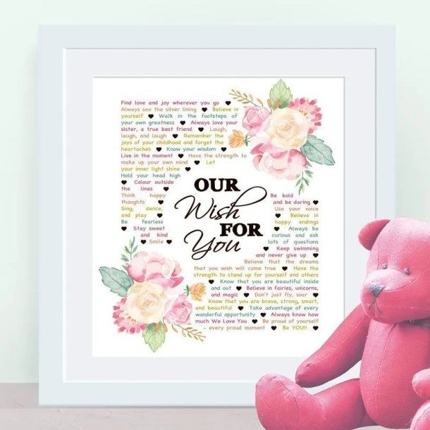 Our Wish For You - Custom Copy -- There are so many wishes that you can have for a child. Whether they are a baby, a young child, or even an older one, Our Wish For You captures all the hopes and dreams you can have for this very special person in your life. | thishappymommy.com
