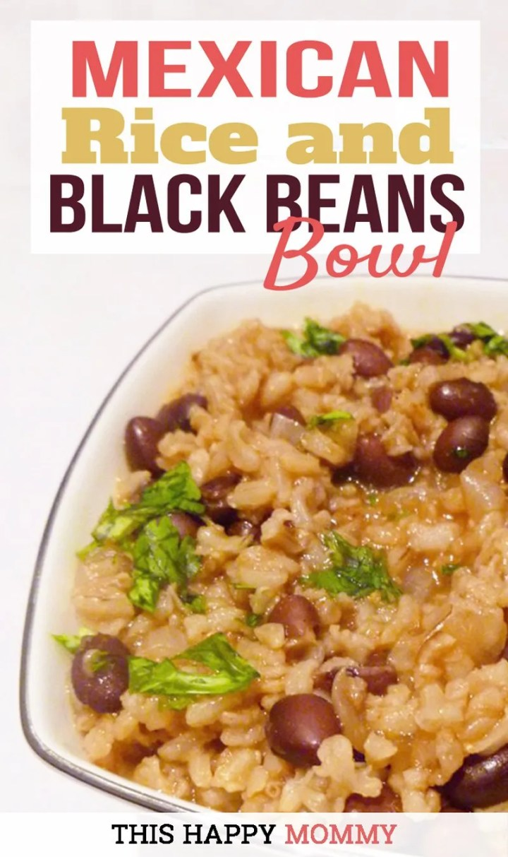 Mexican Rice and Black Beans Bowl -- A one-pot vegetarian meal that's sure to impress. Made with onions, garlic, beans and onions, this tasty meal is satisfying and delicious. Healthy Clean Eating | One Pot Meals | Healthy Vegetarian Dinner Recipes | Quick and Easy Meatless Monday | Rice Recipe for Dinner | Simple Rice Recipe | #meatlessmonday #rice #dinnerrecipes #dinner #recipe | thishappymommy.com