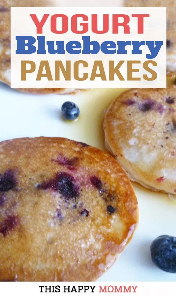 Yogurt Blueberry Pancakes -- Light and fluffy pancakes filled with vanilla flavoured batter and baked blueberries. | clean eating healthy breakfast recipes | healthy breakfast ideas for families | easy brunch ideas for a crowd | clean eating breakfast on the go | easy homemade pancakes | #breakfast #cleaneating #recipe #healthyrecipe #diy | thishappymommy.com