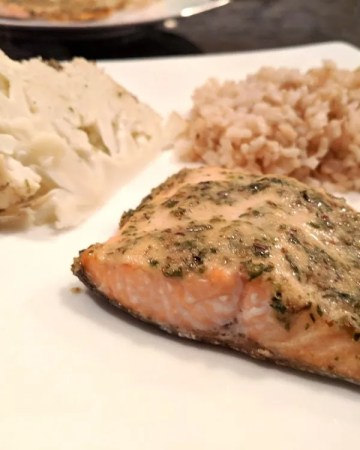 Herb Mustard Baked Trout with Whole Roasted Cauliflower