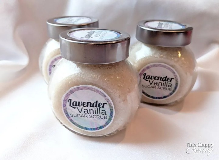 Give the gift of pampering! With only five ingredients, Lavender Vanilla Sugar Scrub can exfoliate your skin, leaving it softer and smelling of lavender. Talk about a great gift!   DIY gift   Easy DIY gifts   Unique DIY gifts   creative DIY gifts   DIY craft gifts   last minute gifts   #gifts #bestgift #diygift #birthdaygift   thishappymommy.com
