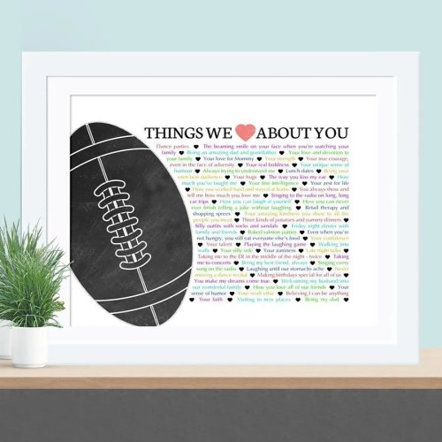 Things we love about you football edition - the perfect gift for the football lover in your life. Fill the gift with words, memories, and things you love about them for a wonderful one-of-a-kind gift. | anniversary gift | birthday gift | thishappymommy.com