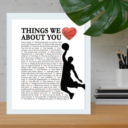 Things we love about you basketball edition - the perfect gift for the basketball lover in your life. Fill the gift with words, memories, and things you love about them for a wonderful one-of-a-kind gift. | anniversary gift | birthday gift | sports fan gift | thishappymommy.com