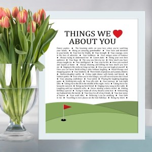 Things we love about you golf edition - the perfect gift for the golf lover in your life. Fill the gift with words, memories, and things you love about them for a wonderful one-of-a-kind gift. birthday gift | thishappymommy.com