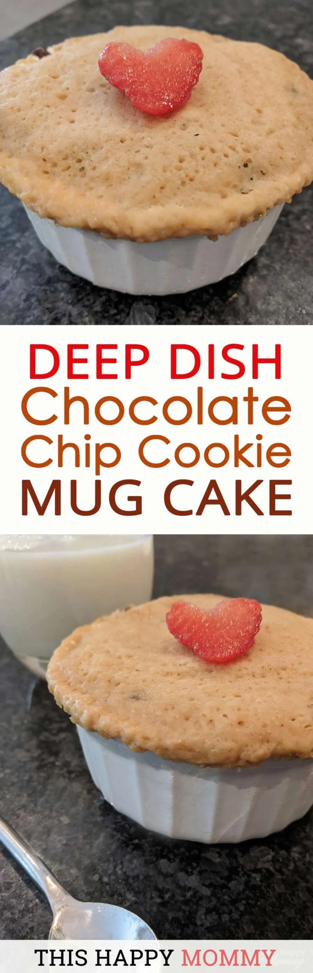 You have to try this! With the flavor of your favorite chocolate chip cookie and the texture of a light and fluffy cake, Deep Dish Chocolate Chip Cookie Mug Cake is a perfect single-serving dessert. Dig right into this lightly-sweetened vanilla cookie cake with melted chocolate chips. | thishappymommy.com