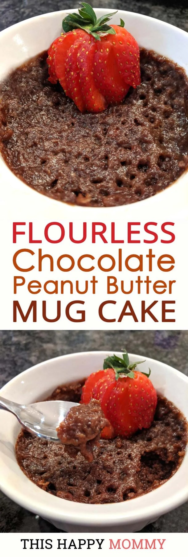 Indulge in a tasty 5 minutes dessert! Made without butter, cream, or oil, Flourless Chocolate Peanut Butter Mug Cake is a rich, decadently chocolatey single-serving cake. Yummy! | thishappymommy.com