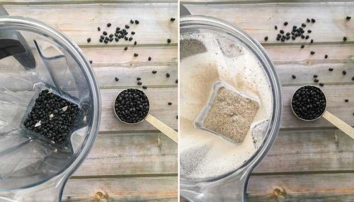 blender with black beans blending into flour