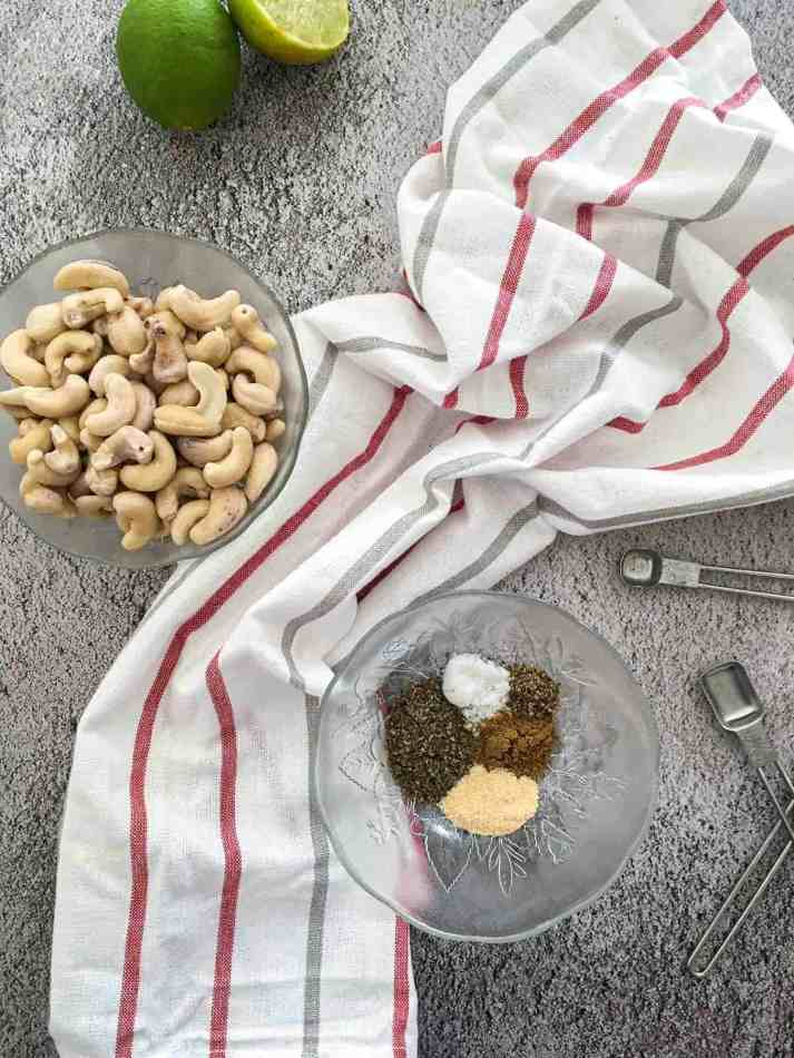 bowl of cashews and bowl of spices