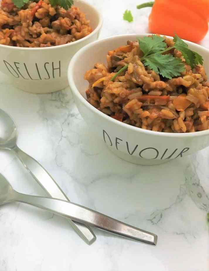 nstant pot Unstuffed peppers in bowls with cilantro garnish
