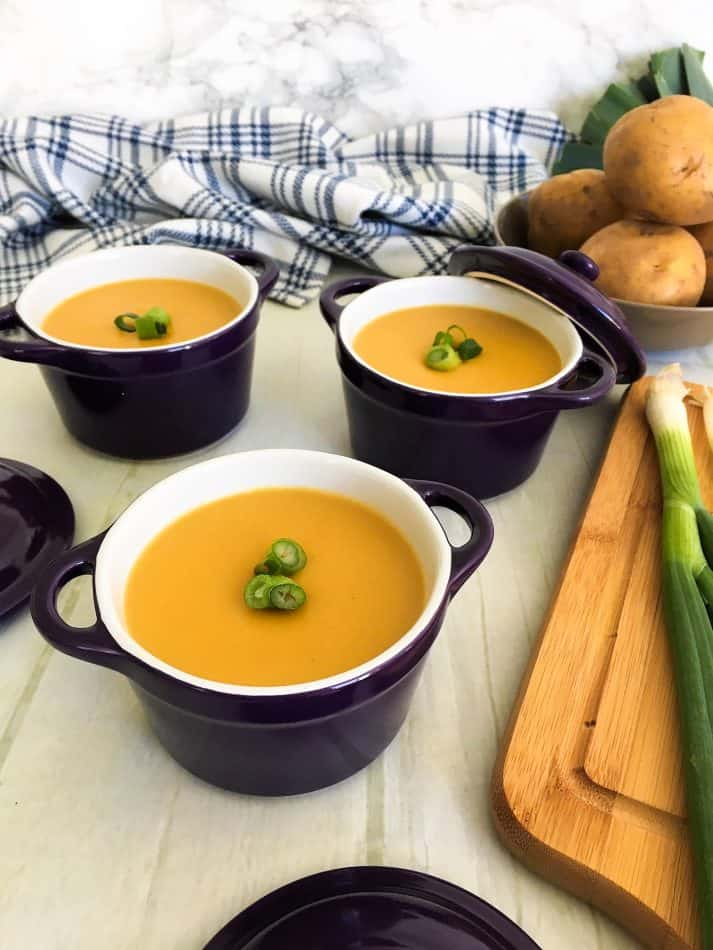 instant pot potato leek soup with green onion garnish