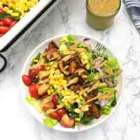 Vegan Cobb Salad with Tangy Cheesy Dressing