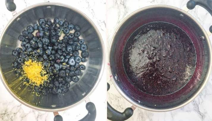 pot of blueberries and pot of blueberry jam