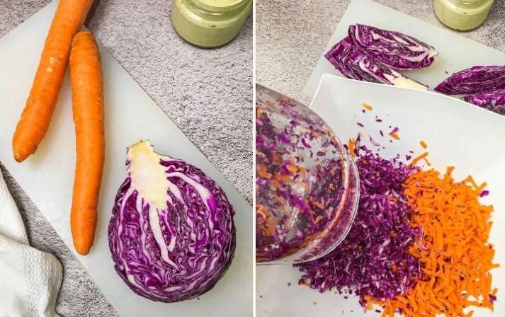 purple cabbage and carrots on cutting board and being shredded