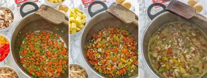 sauteing chopped veggies in large pot