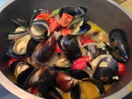 Steamed P.E.I. mussels in a curry broth