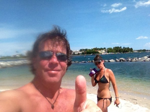 Peanut Island before the monsoon - and my awesome rum cup!