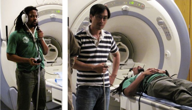 Researcher Ho Ming Chow uses an fMRI machine to scan the brain of hip-hop artist Mike Eagle.