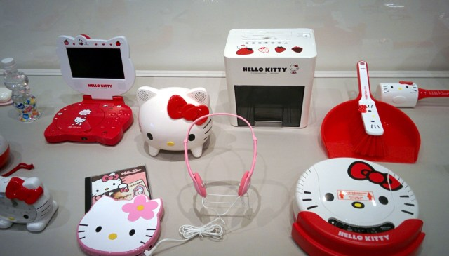 All sorts of random crap with Hello Kitty's face on it. My favorite here is the Hello Kitty paper shredder, for all your adorable document destruction needs.