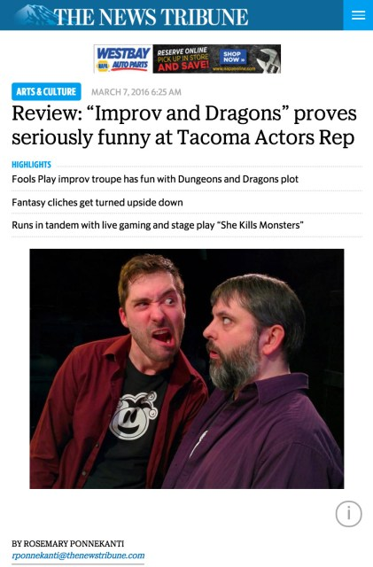 Tacoma News Tribune review of Improv & Dragons