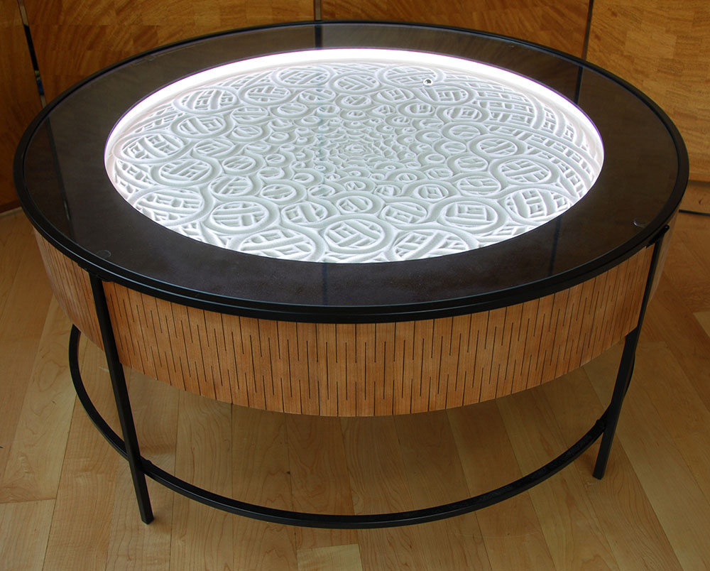 Glass Metal End Table New Kinetic Sand Drawing Tables By Bruce Shapiro | Colossal