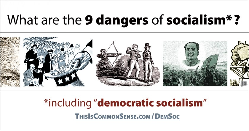 dangers, socialism, socialist, 9, democratic socialism, meme, illustration, Jim Gill