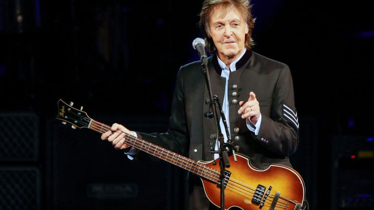 Paul McCartney in concert during his One on One tour at Hollywood Casino Amphitheatre on July 26, 2017