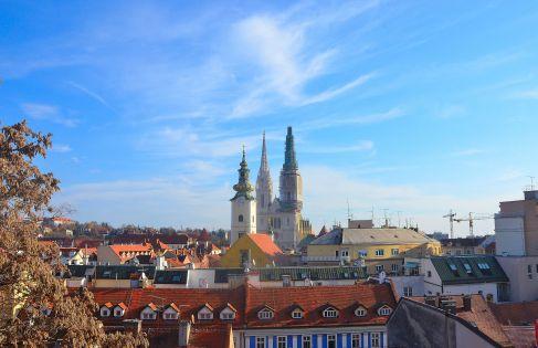 Zagreb New Town from Uspinjaca Station, Zagreb Croatia.