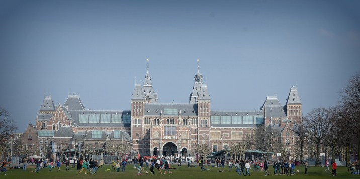 The Rijksmuseum, a Dutch national museum dedicated to arts and history in Amsterdam in the Netherlands.